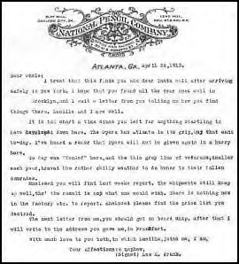 Leo's letter to his uncle Moses Frank, dated Apr 26th: Click for larger version.